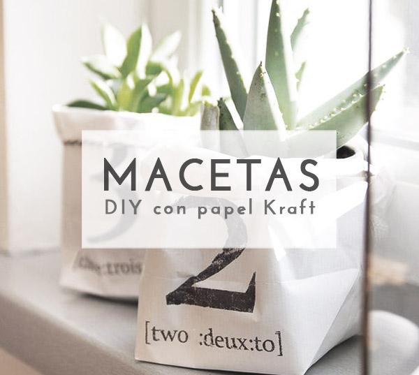 Macetas diy con papel kraft