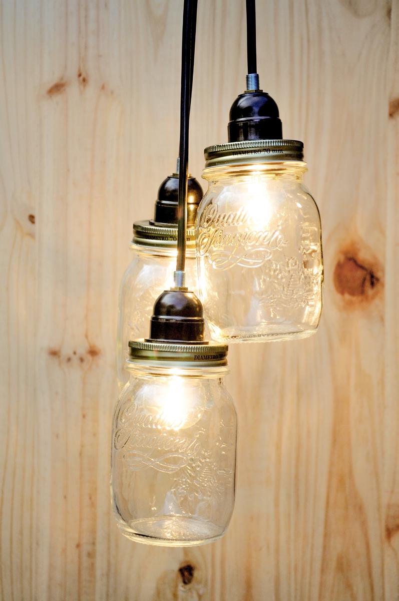 lampara con tarro
