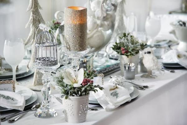 mesa navideña plata