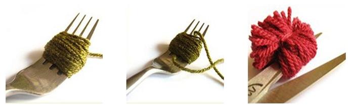 diy pequeños pompones de lana