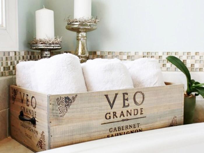 caja de vino para baño