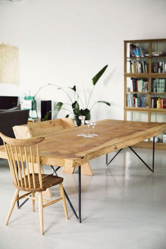 mesa de comedor con tablero de madera