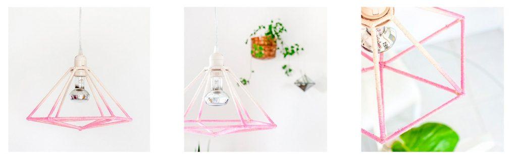 Lámpara diy con forma geométrica