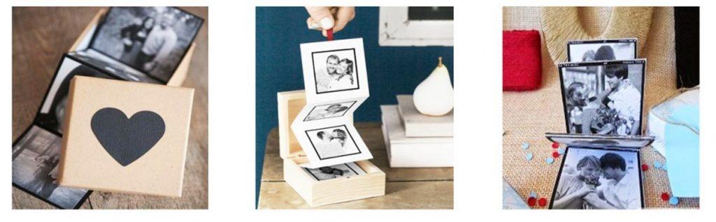 Crea una original tira de fotos dentro de una caja de madera. Ideal para regalar