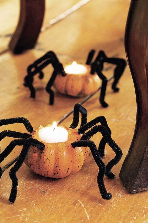 arañas vela con minicalabazas