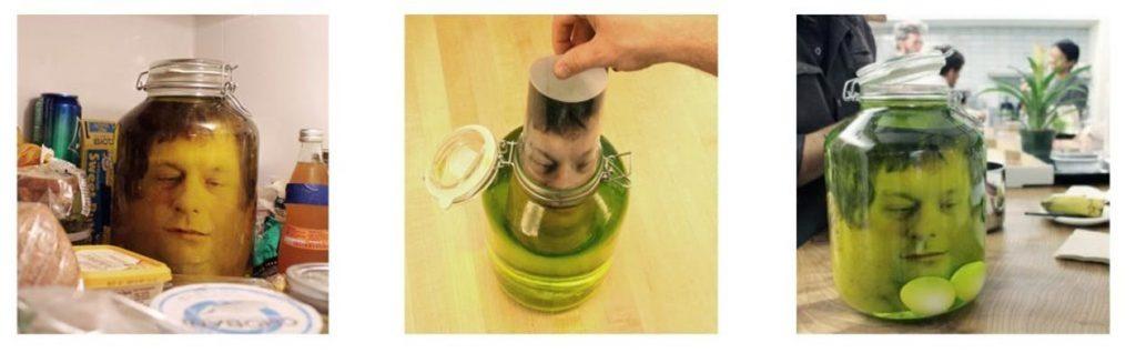 Una cabeza en un frasco para Halloween