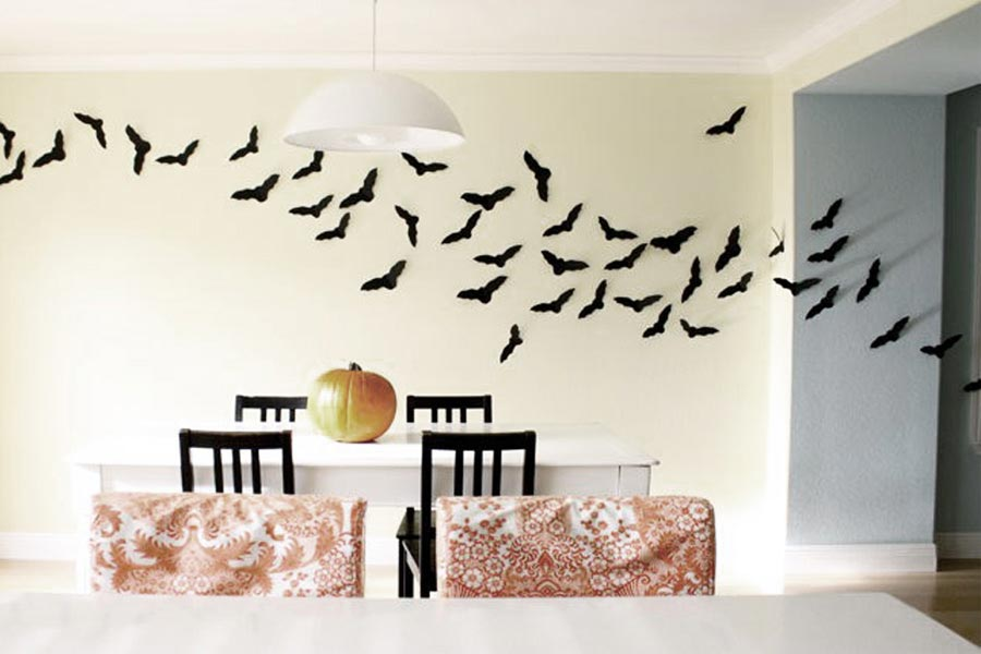 murciélagos de cartulina para la pared