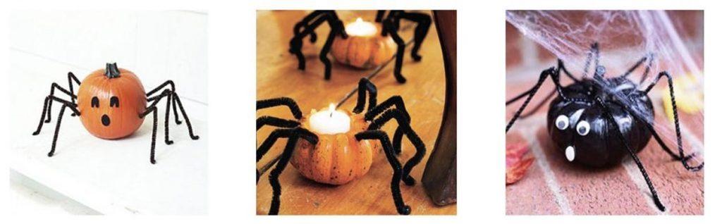 velas araña con minicalabazas